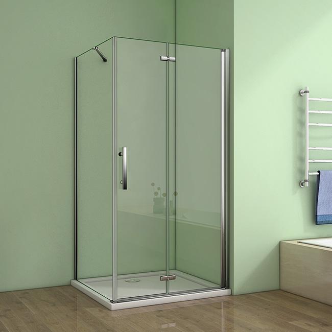 H K Obdélníkový sprchový kout MELODY 90x80 cm se zalamovacími dveřmi včetně sprchové vaničky z litéh