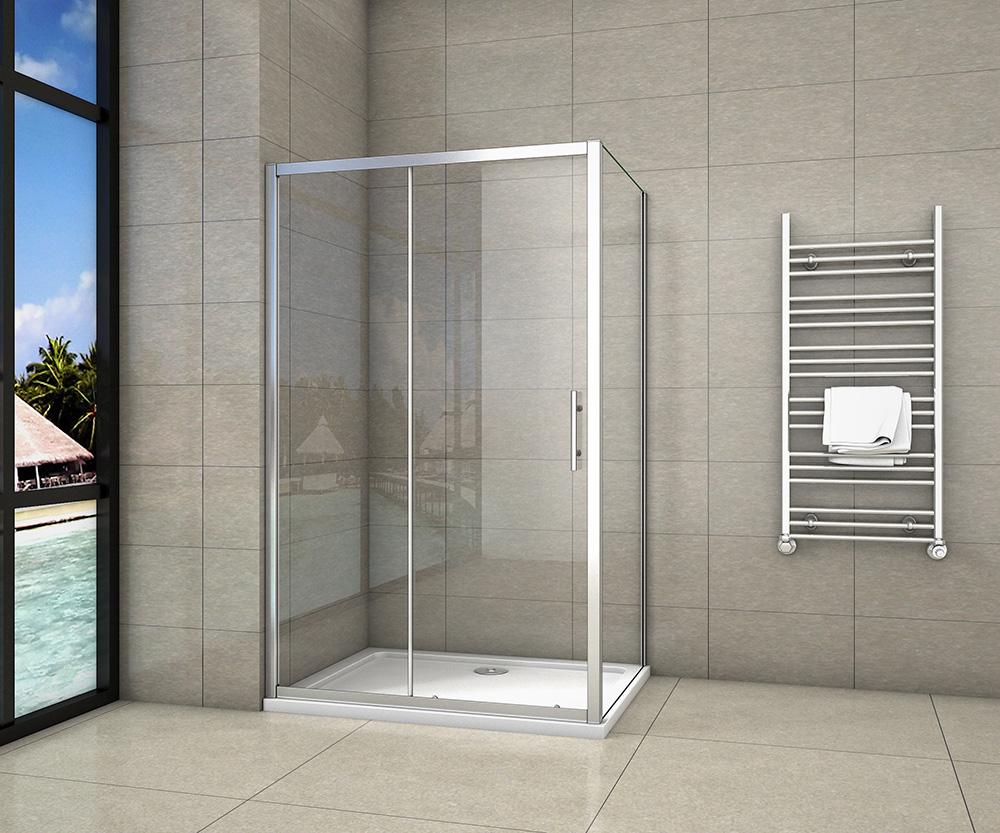 H K Obdélníkový sprchový kout SYMPHONY 140x80 cm s posuvnými dveřmi včetně sprchové vaničky z litého