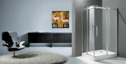 Aquatek - TEKNO R14 Chrom Luxusní sprchová zástěna obdélníková 100x80cm , sklo 8mm, varianta levá, výška 195 cm (TEKNOR14-130), fotografie 2/4