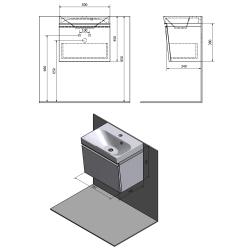 SAPHO - MELODY umyvadlová skříňka 50x38x34cm + um. JOY 50cm, bílá (56050-SET), fotografie 2/6