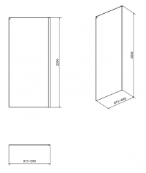 Boční stěna k posuvným dveřím CREA 90x200, čiré sklo (S900-2614), fotografie 4/2