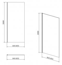 Boční stěna CREA 90x200 pro kyvné dveře, čiré sklo (S159-010), fotografie 4/2