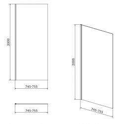 Boční stěna CREA 80x200 pro kyvné dveře, čiré sklo (S159-009), fotografie 4/2
