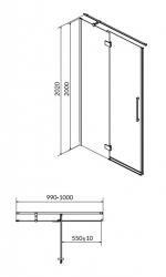Sprchové dveře s panty CREA 100x200, levé, čiré sklo (S159-001), fotografie 14/7