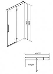 Sprchové dveře s panty CREA 100x200, pravé, čiré sklo (S159-002), fotografie 12/6