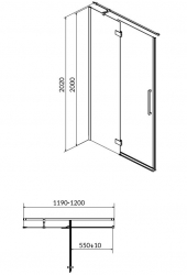 Sprchové dveře s panty CREA 120x200, levé, čiré sklo (S159-003), fotografie 18/9
