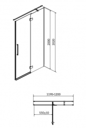 Sprchové dveře s panty CREA 120x200, pravé, čiré sklo (S159-004), fotografie 18/9