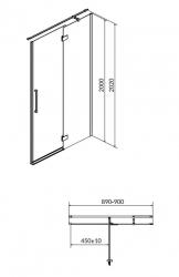 Sprchové dveře s panty CREA 90x200, pravé, čiré sklo (S159-006), fotografie 12/6