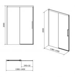 Sprchové posuvné dveře CREA 140x200, čiré sklo (S159-008), fotografie 8/4