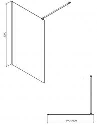CERSANIT - Sprchová zástěna WALK-IN MILLE BLACK 100x200, čiré sklo + ŽLAB včetně ROŠTU (S161-003-SET01), fotografie 8/6