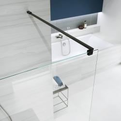 Sprchová zástěna WALK-IN MILLE BLACK 120x200, čiré sklo + ŽLAB včetně ROŠTU (S161-004-SET01) - CERSANIT, fotografie 2/6