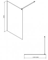 CERSANIT - Sprchová zástěna WALK-IN MILLE BLACK 120x200, čiré sklo + ŽLAB včetně ROŠTU (S161-004-SET01), fotografie 8/6