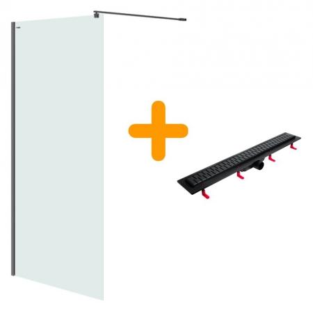 Sprchová zástěna WALK-IN MILLE BLACK 120x200, čiré sklo + ŽLAB včetně ROŠTU (S161-004-SET01) - CERSANIT