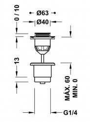 TRES - Umyvadlový ventilzátka O40mm CLICK-CLACK (24284002LM), fotografie 2/1