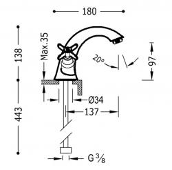 TRES - Dvoupáková umyvadlová baterie (24210201OR), fotografie 2/1