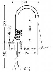 TRES - Dvoupáková umyvadlová baterie (24210901), fotografie 2/1