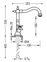 TRES - Dvoupáková umyvadlová baterie (24210902AC), fotografie 2/1