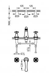 TRES - Dvoupáková umyvadlová baterieMožnost samostatné instalace. (24210601AC), fotografie 2/1