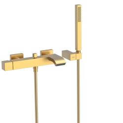 TRES - Jednopáková baterie pro vanu-sprchus kaskádou. Ruční sprcha snastavitelným držákem, proti usaz. vod. kamene. Flexi had (0071700203OM)