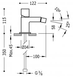 TRES - Jednopáková bidetová baterie (00712001BL), fotografie 2/1