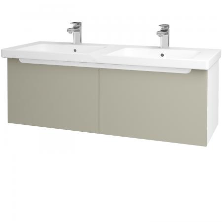 Dřevojas - Koupelnová skříň COLOR SZZ2 125 - N01 Bílá lesk / L04 Béžová vysoký lesk (67635)