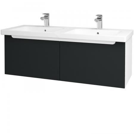 Dřevojas - Koupelnová skříň COLOR SZZ2 125 - N01 Bílá lesk / L03 Antracit vysoký lesk (67758)