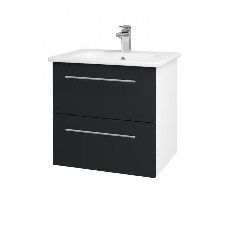 Dřevojas - Koupelnová skříň GIO SZZ2 60 - N01 Bílá lesk / Úchytka T02 / L03 Antracit vysoký lesk (82850B)