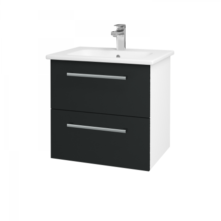 Dřevojas - Koupelnová skříň GIO SZZ2 60 - N01 Bílá lesk / Úchytka T03 / L03 Antracit vysoký lesk (82850C)