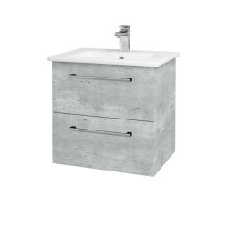 Dřevojas - Koupelnová skříň GIO SZZ2 60 - D01 Beton / Úchytka T03 / D01 Beton (82935C)
