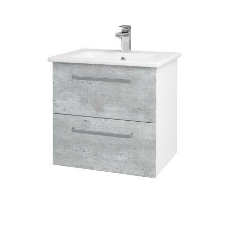 Dřevojas - Koupelnová skříň GIO SZZ2 60 - N01 Bílá lesk / Úchytka T01 / D01 Beton (82829A)