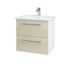 Dřevojas - Koupelnová skříň GIO SZZ2 60 - N01 Bílá lesk / Úchytka T01 / D02 Bříza (82805A)