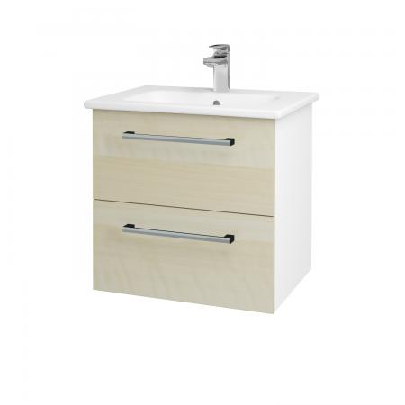 Dřevojas - Koupelnová skříň GIO SZZ2 60 - N01 Bílá lesk / Úchytka T03 / D02 Bříza (82805C)