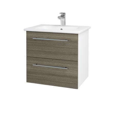 Dřevojas - Koupelnová skříň GIO SZZ2 60 - N01 Bílá lesk / Úchytka T02 / D03 Cafe (82782B)