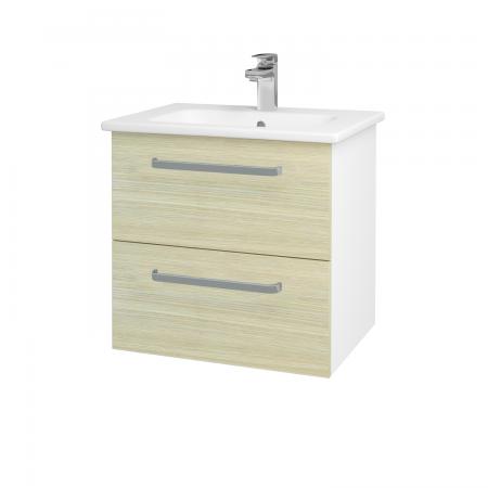 Dřevojas - Koupelnová skříň GIO SZZ2 60 - N01 Bílá lesk / Úchytka T01 / D04 Dub (82775A)