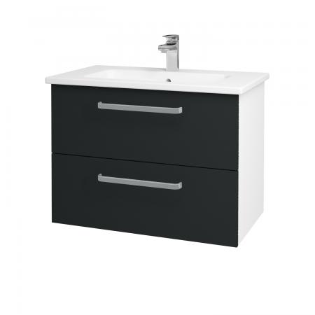Dřevojas - Koupelnová skříň GIO SZZ2 80 - N01 Bílá lesk / Úchytka T01 / L03 Antracit vysoký lesk (82010A)