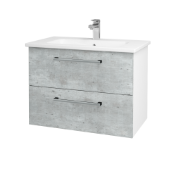 Dřevojas - Koupelnová skříň GIO SZZ2 80 - N01 Bílá lesk / Úchytka T03 / D01 Beton (81983C)