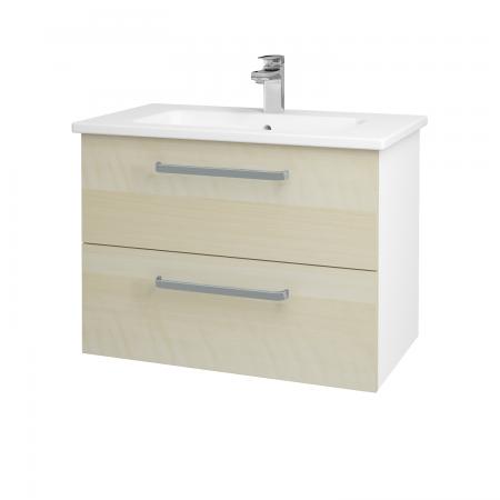 Dřevojas - Koupelnová skříň GIO SZZ2 80 - N01 Bílá lesk / Úchytka T01 / D02 Bříza (81969A)