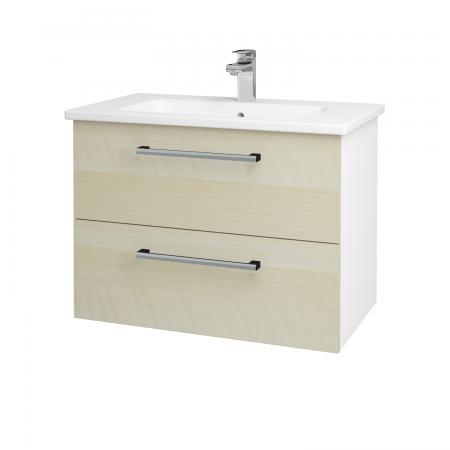 Dřevojas - Koupelnová skříň GIO SZZ2 80 - N01 Bílá lesk / Úchytka T03 / D02 Bříza (81969C)