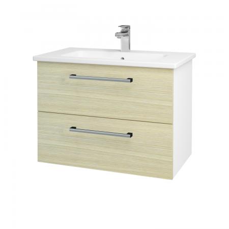Dřevojas - Koupelnová skříň GIO SZZ2 80 - N01 Bílá lesk / Úchytka T03 / D04 Dub (81938C)
