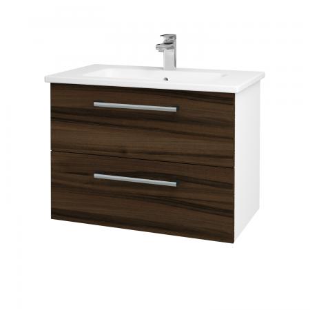 Dřevojas - Koupelnová skříň GIO SZZ2 80 - N01 Bílá lesk / Úchytka T03 / D06 Ořech (81921C)