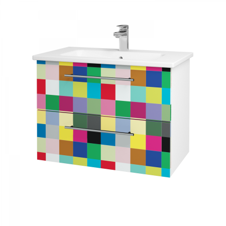 Dřevojas - Koupelnová skříň GIO SZZ2 80 - N01 Bílá lesk / Úchytka T02 / IND Individual (82027B)