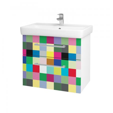 Dřevojas - Koupelnová skříň Q MAX SZZ2 70 - N01 Bílá lesk / Úchytka T03 / IND Individual (61565C)