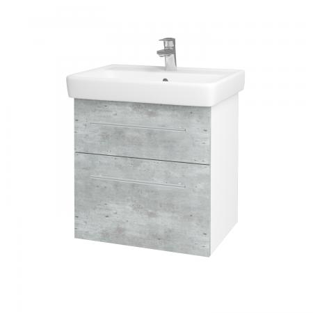 Dřevojas - Koupelnová skříň Q MAX SZZ2 60 - N01 Bílá lesk / Úchytka T02 / D01 Beton (67482B)