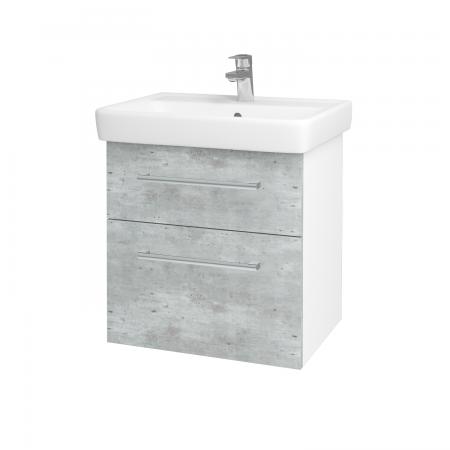 Dřevojas - Koupelnová skříň Q MAX SZZ2 60 - N01 Bílá lesk / Úchytka T03 / D01 Beton (67482C)