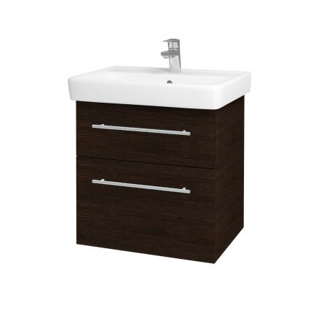 Dřevojas - Koupelnová skříň Q MAX SZZ2 60 - D08 Wenge / Úchytka T02 / D08 Wenge (60292B)