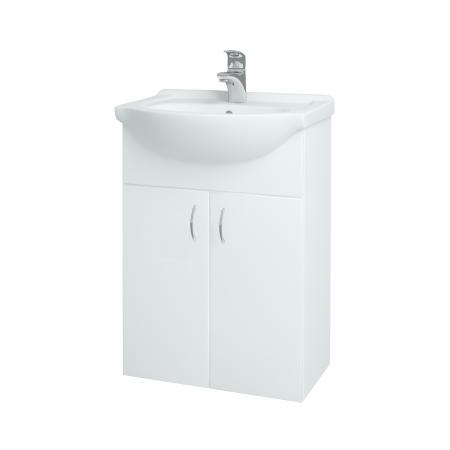 Dřevojas - Koupelnová skříň PLUTO SZD2 55 - N01 Bílá lesk / N01 Bílá lesk (52327)