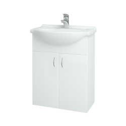 Dřevojas - Koupelnová skříň PLUTO SZD2 60 - N01 Bílá lesk / N01 Bílá lesk (52334)