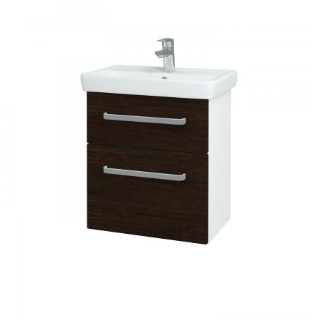 Dřevojas - Koupelnová skříň GO SZZ2 55 - N01 Bílá lesk / Úchytka T01 / D08 Wenge (28049A)