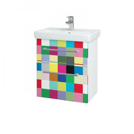 Dřevojas - Koupelnová skříň GO SZZ2 55 - N01 Bílá lesk / Úchytka T03 / IND Individual (23822C)
