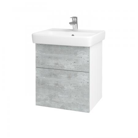 Dřevojas - Koupelnová skříň Q MAX SZZ2 55 - N01 Bílá lesk / Úchytka T02 / D01 Beton (67475B)